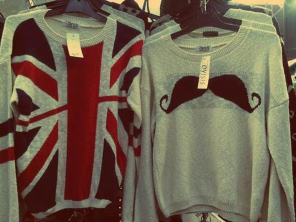 pullover england sweater clothes mustache british flag gray