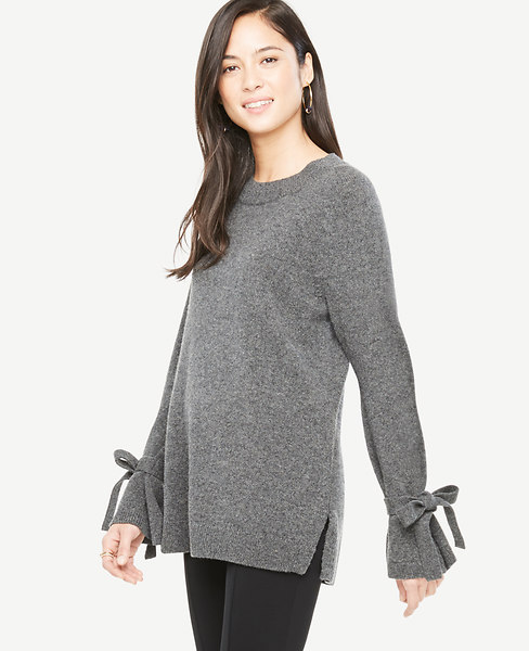 0343d91c9062f9 Wool Cashmere Tie Sleeve Sweater | Ann Taylor