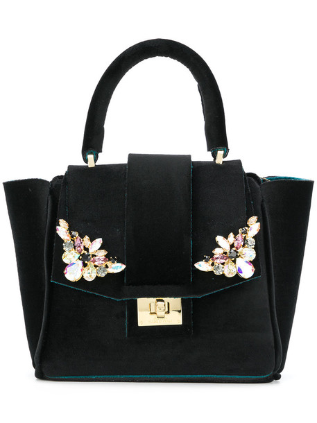 Alila mini women embellished bag tote bag black velvet neoprene