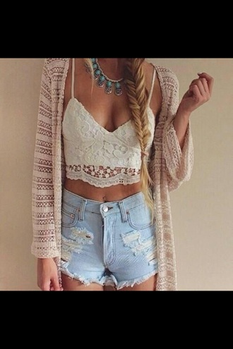 top cream lace crop tops boho bohemian bohemian top lace top shorts