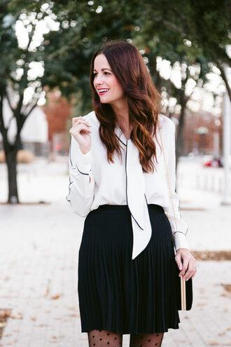 themilleraffect blogger skirt top sweater tights blouse shoes bag make-up pleated skirt mini skirt white blouse shoulder bag