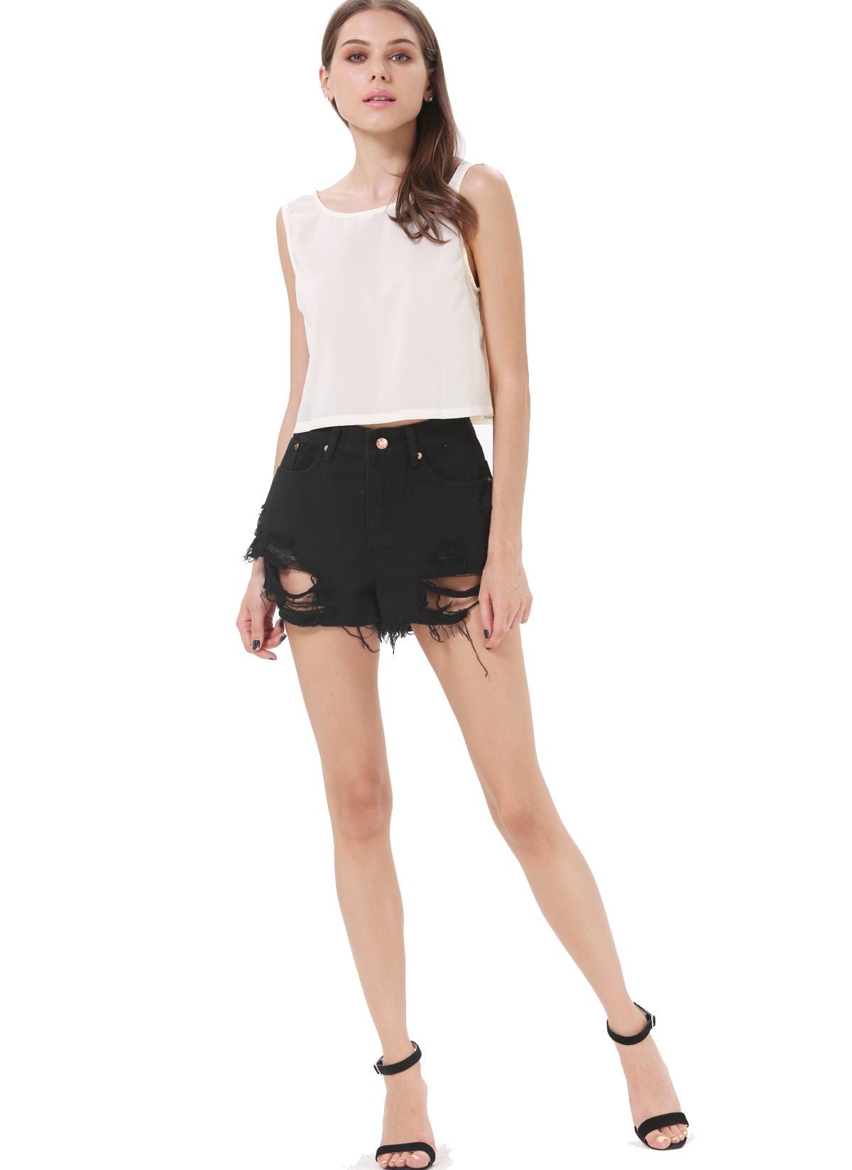 Black Pockets Ripped Denim Shorts - Sheinside.com