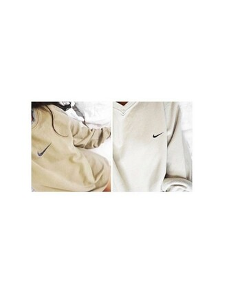 sweater nike beige nike sweater top white sweatshirt nikesweatshirt black warm sweater shirt comfy cute bedding jumper cream aesthetic oversized sweater white sweater nike sportswear long sleeves