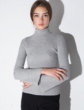 sweater,grey turtleneck bell sleeve sweater,bell sleeve sweater,grey turtleneck,turtleneck sweater,minimalist,modern minimal,bell sleeves,turtleneck