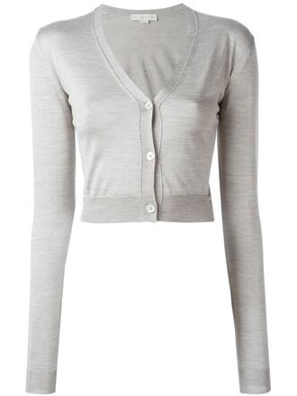 cardigan cropped women silk grey sweater