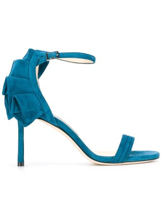 women sandals leather blue suede shoes