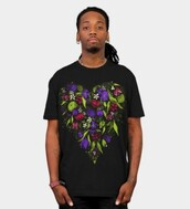 shirt,flowers,floral,digital painting,art print,heart,romantic print,bright,vibrant,sweet,printed t-shirt,womens t-shirt,mens t-shirt