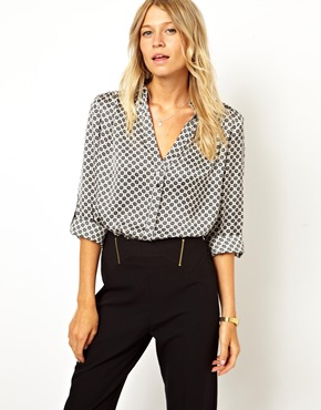 Asos blouse with drop neck in mono geo at asos
