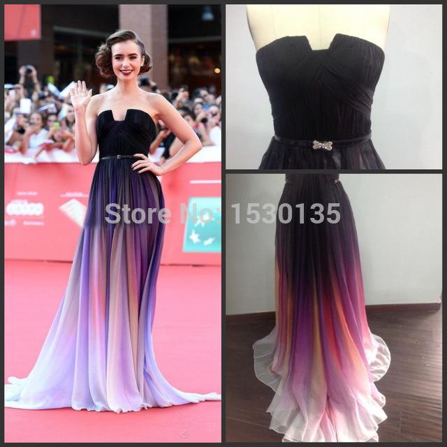 Online Shop Vestidos de Novia 2015 Stunning Lily Collins New Chiffon ...