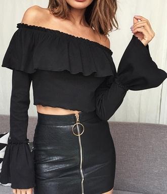 blouse girly black off the shoulder off the shoulder top bardot crop tops crop cropped flare