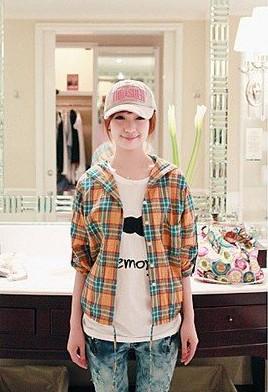 Wholesale fashionable casual style long sleeves hooded lattice shirt orange