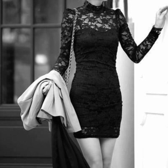 dress black mini dress dentelle