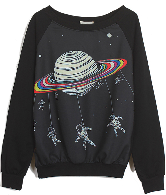 Black Long Sleeve Saturn Astronaut Print Sweatshirt - Sheinside.com