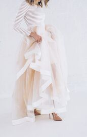 skirt,tumblr,pink dress,tutu,top,stripes,striped top,pumps,pointed toe pumps,high heel pumps,nude heels,wedding,wedding clothes,tulle dress