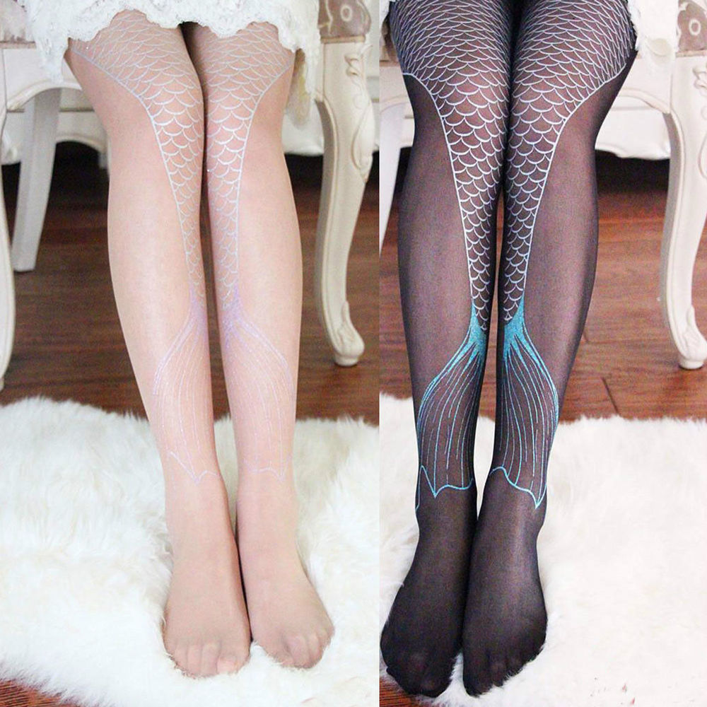 Women ladies transparent sexy sparkling mermaid tail printing tights pantyhose