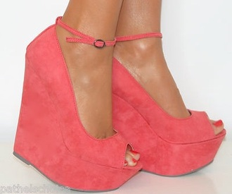 shoes peach wedges