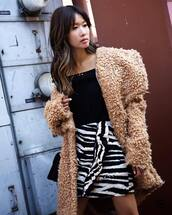 coat,tumblr,camel,camel coat,teddy bear coat,fuzzy coat,top,black top,skirt,mini skirt,zebra,zebra print
