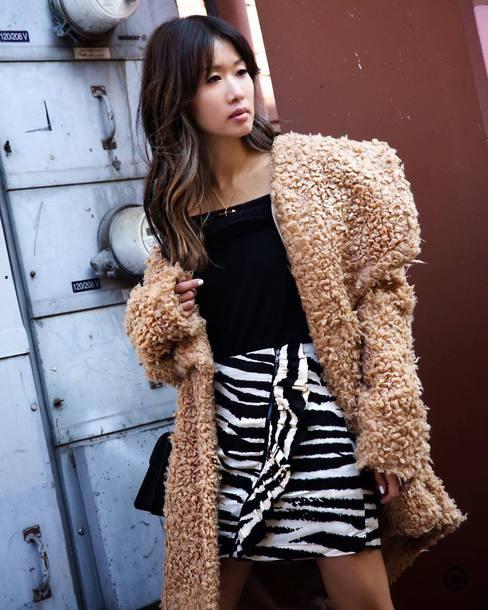 coat tumblr camel camel coat teddy bear coat fuzzy coat top black top skirt mini skirt zebra zebra print