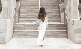 dress white white maxi dress low back backless long sleeves