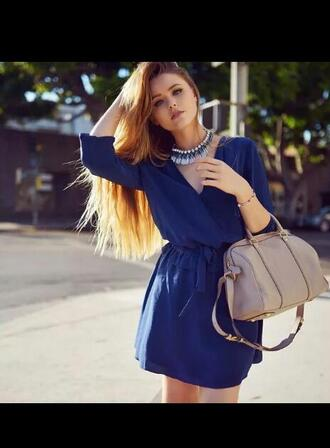 dress short dress blue dress necklace statement necklace bag mini dress mariner dress blue high heels jewels