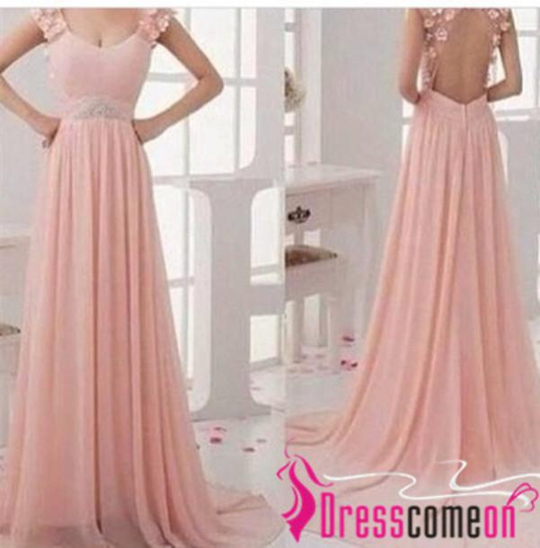 dress, backless dress, prom dress, backless prom dress, scoop neck ...