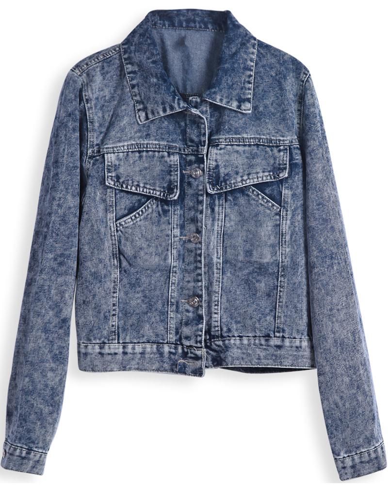 Blue Lapel Long Sleeve Pockets Crop Denim Jacket - Sheinside.com