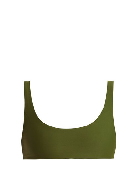 Jade Swim - Rounded Edges Bikini Top - Womens - Dark Green
