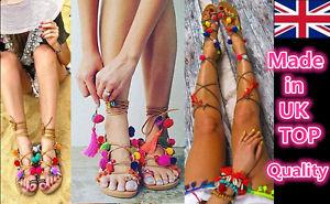 Women PomPom Sandal Casual Lace Up Shoes Ankle Strap Flats Gladiator Boho Slider