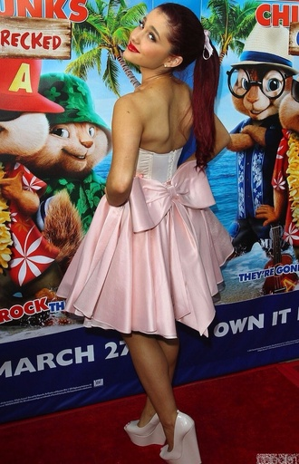 dress oversized bow dress ariana grande pink bow dress pink and white dress bow dress