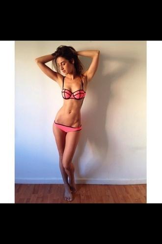 block colour swimwear bikini pink stripes fluro bandeau stripes