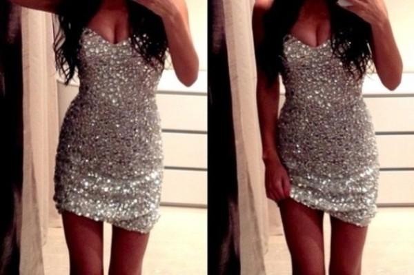 dress strass sequin dress sequins argent sexy