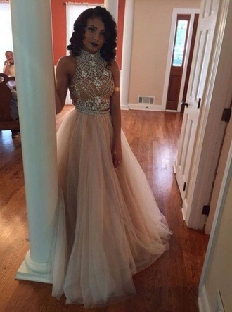 dress pearl pink a line top tulle skirt prom dress