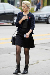 cardigan,fall outfits,skirt,dianna agron,boots