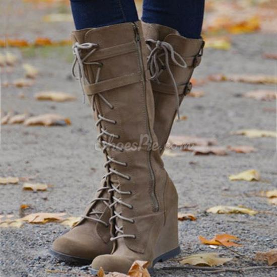 Lace-Up Wedge Knee High Boots