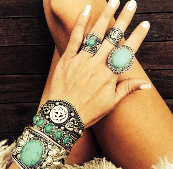 jewels jewelry bracelets silver boho hippie indie ring tibet turqouise turquoise jewelry turquoise ring silver ring boho jewelry