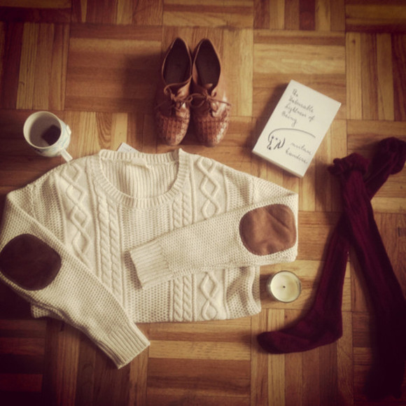 sweater oversized sweater shoes elbow patch cable knit sweater