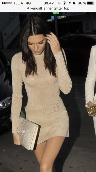 blouse kendall jenner glitter top nude top long sleeves