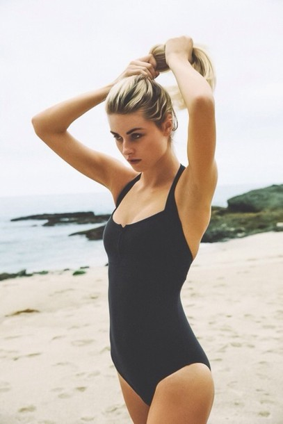 swimwear black whole piece halter top