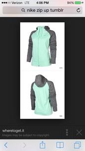jacket,mint ad charcoal nike zip up,nike hoodie,woman's mint nike hoodie,mint and charcoal nike zip up,mint and gray nike hoodie
