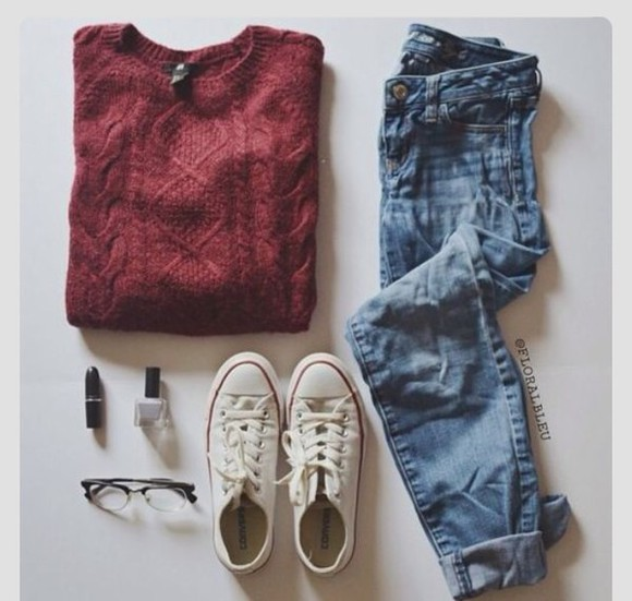jeans burgendy sweater fall sweater red sweater style