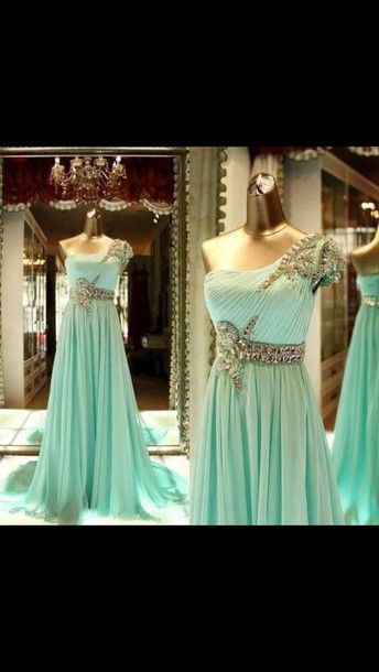 dress clothes gown mint crystal