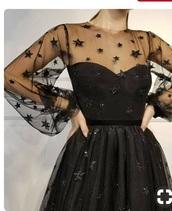 dress,black,stars,thin,light,mesh,net,black dress,transparent