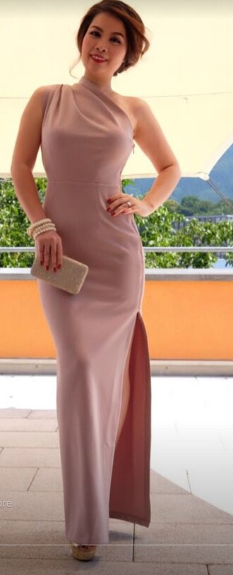 dress nude maxi dress one shoulder prom dress