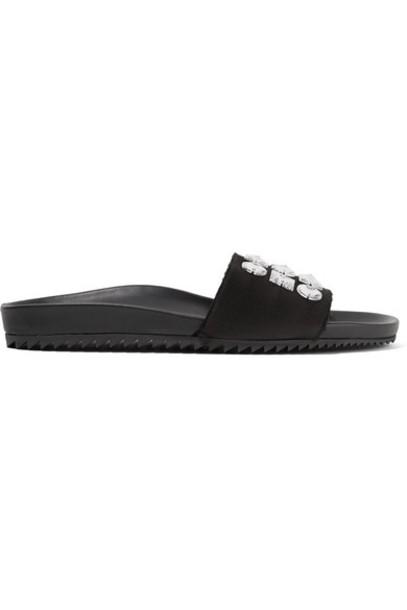 Pedro Garcia embellished leather black satin shoes