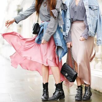 skirt tumblr midi skirt maxi skirt pink skirt silk silk skirt bag black bag asymmetrical asymmetrical skirt boots black boots ankle boots buckle boots jacket denim jacket blue jacket top gingham chain bag