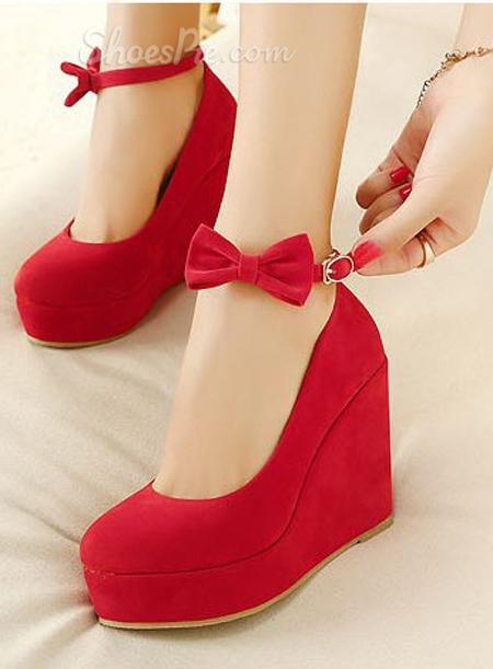 Sale Red Wedge Heels with Bowtie