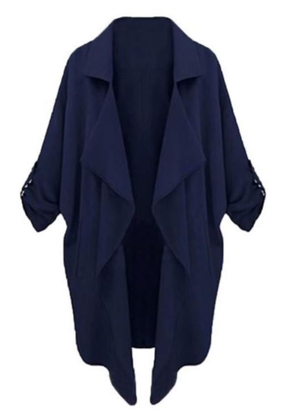 dark blue coat lapel coat long coat half sleeves three-quarter sleeves www.ustrendy.com