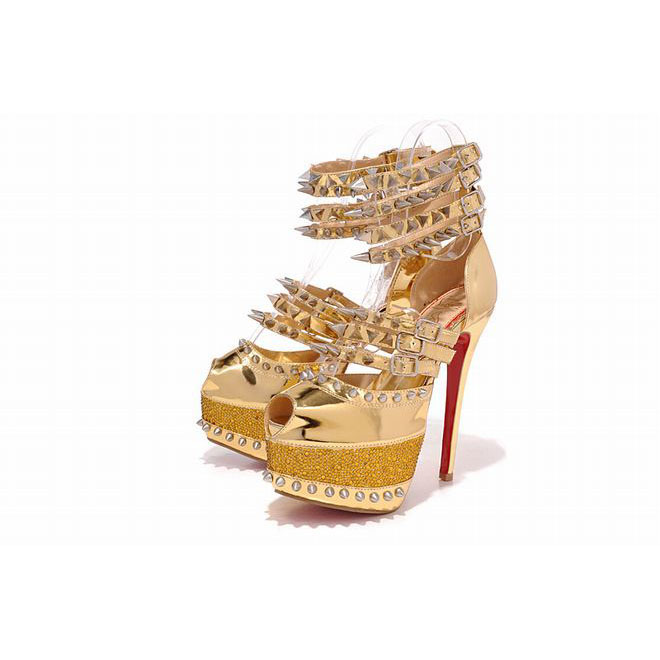 gold leather peep-toe christian louboutin 20 isodle 160mm pumps 2012