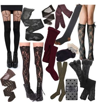 socks overknee black red green olive green grey brown lace purple knee high socks high socks