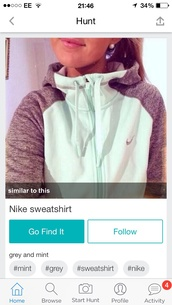 jacket,mint grey nike zip up sweater